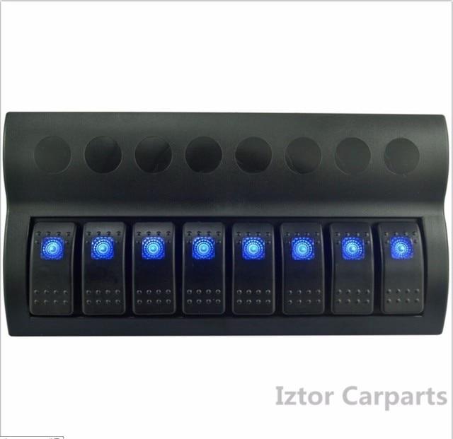 8 post 12V/24V marine rocker rocker switch panel |Blue LED car switch panel sales free shipping/maring ship switch panel hot
