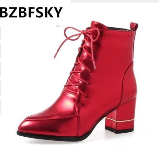 BZBFSKY  ankle boots for ladies high heel pointed toe laced up side zipper booties 3 color shoes woman black red shoes winter 2017 ohwhat s ladies shoes woman solid pointed toe leather winter womens booties zapatos mujer botas high heel boots