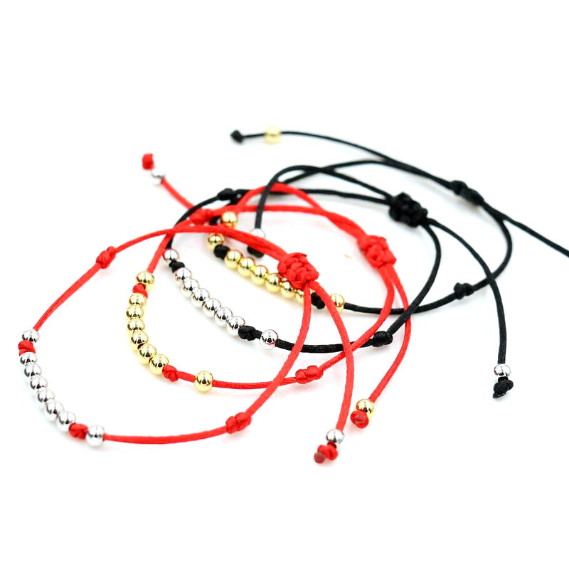 BPPCCR Top 4MM Stainless Steel Beads Red Black Rope Strings Thread Braid Bracelets For Men Women Lucky Pulseras Lovers Gifts