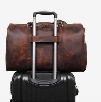 Big Capacity Men Travel Duffel Vintage Crazy Horse Genuine Leather Travel Bag Cow Leather Luggage Weekend Large shoulder bag