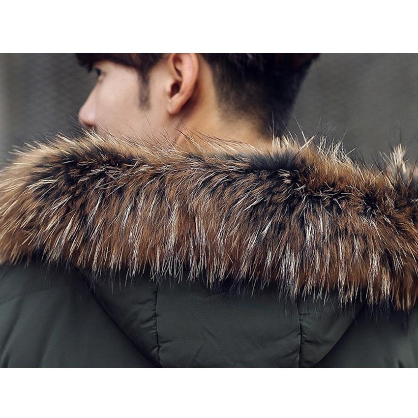 Livraison gratuite hommes doudoune fourrure col manteau élégant hiver veste hommes longue imperméable Parka vers le bas manteau pour homme 200hfx - 3