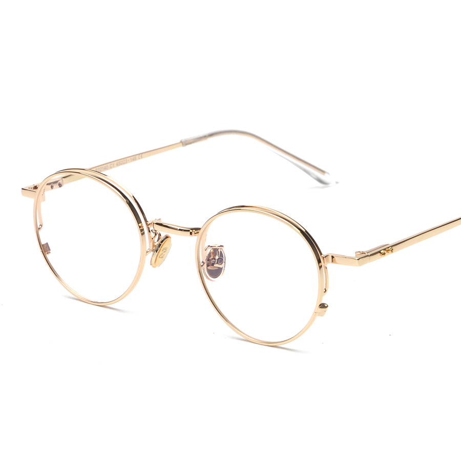 Gold And Silver Eyeglass Frames : Quality Eye Frames Men Vintage Round Gold Frame Glasses ...