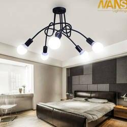 Винтаж современный светодиодный теплый свет потолочный светильник из кованого железа Luminaria E27 лампы светильники для Декор для ресторана и