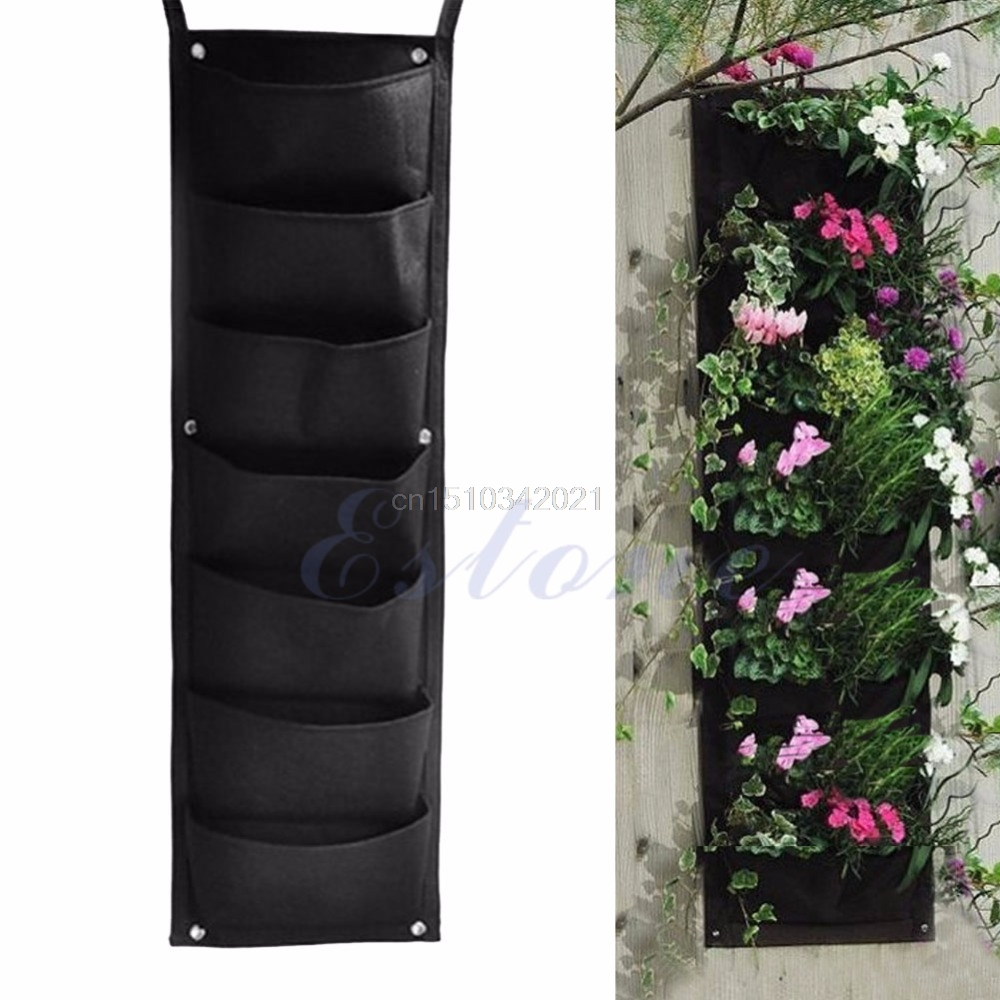 7 Pocket Indoor Outdoor Wall Balcony Herbs Vertical Garden Hanging Planter  Bag