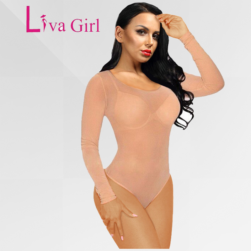 LIVA GIRL 2020 Nude Mesh Bodysuit Rompers Bodycon Jumpsuit Turtleneck Skinny Bodysuits Transparent New Women  Body Clothing