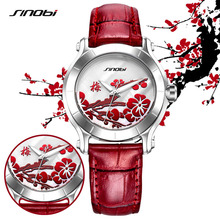 SINOBI Waterproof Plum Flower Watches for Women Ladies Red Leather Fashion Wristwatches Ladies Clock Relojes Mujer