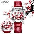 Sinobi impermeable plum flor relojes para mujeres de las señoras de cuero rojo pulsera de moda señoras reloj reloj relojes mujer