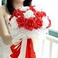 Últimas Broche Rosa Flores Bouquets De Casamento Da Dama de honra Vermelho e Branco Mão Segurando Flores Acessórios Do Casamento