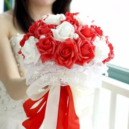 Последнее Красный и Белый Свадебные Букеты Брошь Роза Цветы Невесты Руки Холдинг Цветочные Свадебные Аксессуары