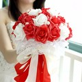 Lastest Red and White Wedding Bouquets Brooch Rose Flowers Bridesmaid Hand Holding Flower Wedding Accessories
