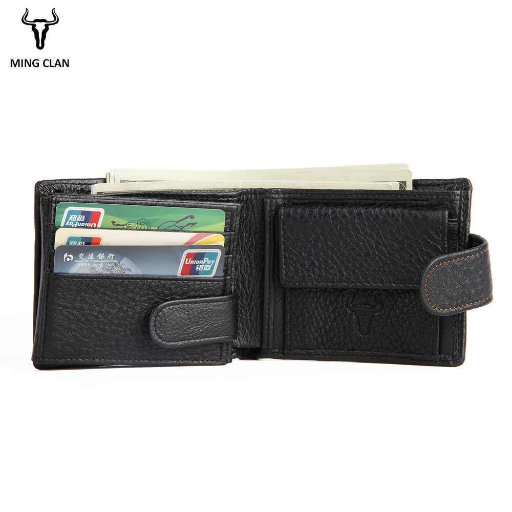 Mingclan Short Men Wallets Genuine Leather Male Purse Porte Carte Card Holder Wallet Rfid Clutch Pocket Bag With Coin purse men wallet male cowhide genuine leather purse money clutch card holder coin short crazy horse photo fashion 2017 male wallets