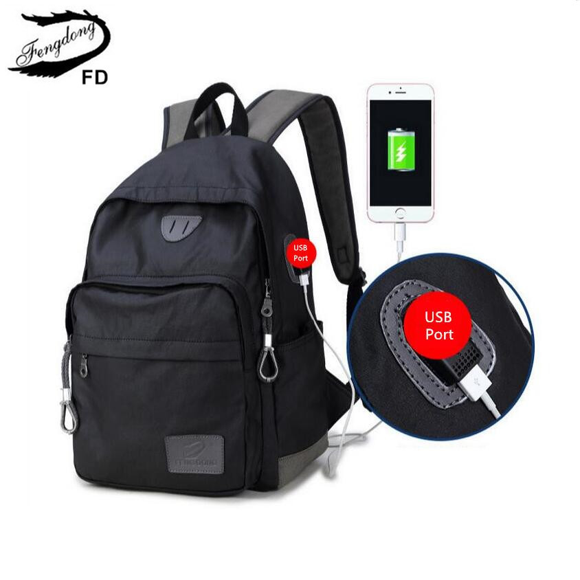 FengDong men usb backpack bag big boys school bags male retro black laptop bag 13 14 15 notebook computer backpack for teenagers large 14 15 inch notebook backpack men s travel backpack waterproof nylon school bags for teenagers casual shoulder male bag