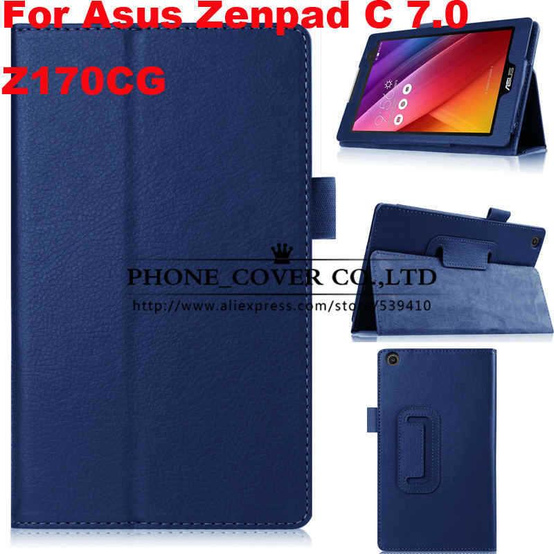 Magnet Stand litchi flip leather case cover For Asus Zenpad C 7.0 Z170CG Z170C 7 Tablet skin cases + screen protectors + stylus protect защитная пленка для asus zenpad c 7 0 z170cg матовая