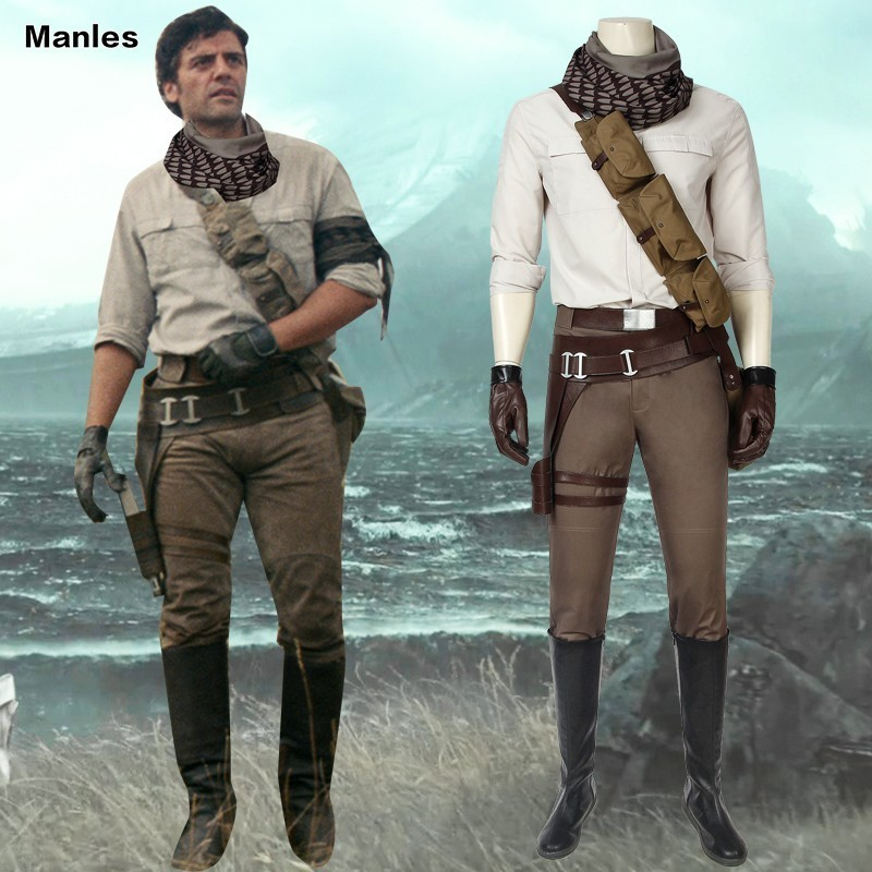 Cosplay The Rise Of Skywalker Star Wars Costume Pilot Poe Dameron Adult Halloween Boots Belt Holster Shirt Custom Male Movie Tv Costumes Aliexpress
