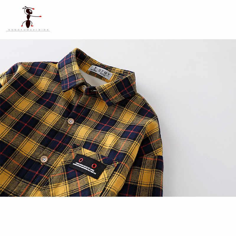 2018 Kung Fu Ant Marka Sonbahar Kış Ekose Sıcak Peluş Erkek Gömlek 5 T-14 T Yüksek Kaliteli Pamuk mektup Bez Büyük çocuğun Sıcak Gömlek