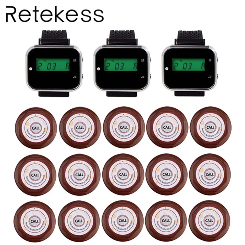 Restaurant Guest Pagers Wireless Waiter Calling Paging System For Cafe 3 Wrist Watch Receiver 15 Call