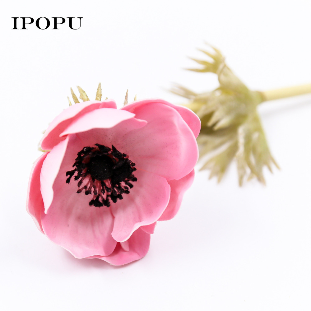 Artificial flowers poppy flower for home decroation pu leather rose artificial flowers poppy flower for home decroation pu leather rose simulation fake flower wedding party supplies decor in artificial dried flowers from mightylinksfo Choice Image