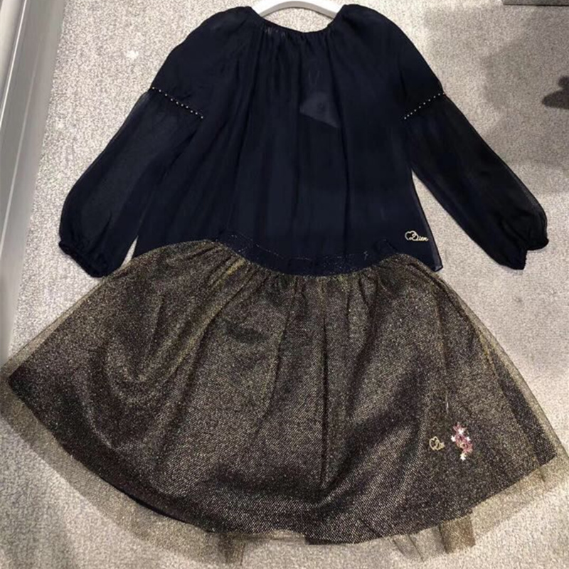 501d521673 Kids Autumn Long Sleeve Shirt for Girls Baby Kids Navy Blue Top+Gold Silk  Skirt Clothing Set for Girl Princess Party Clothing