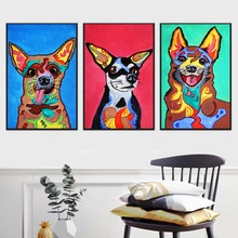 WARMSUN Modern Abstract Cute Animals Colorful Dog Canvas Painting Wall Art Poster Picture Living Room Home Decoration No Frame