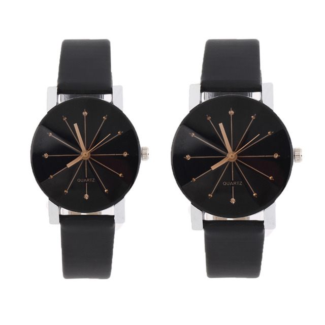 Lovers PU Leather Band Quartz Analog Wrist Watch for Wholesales Dropshipping