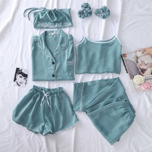 NiceMix 2019 set womens wholesale autumn new satin soft suit female sets girl seven piece sleepwear sexy high quality