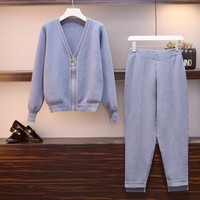 Plus Size 4xl Tracksuit Women Two Piece Set Knitted Ensemble Femme Deux Pieces Conjunto Feminino Year old Female Costume