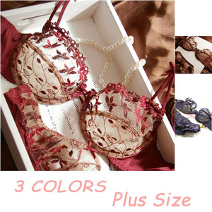 Image 2 - Wysokiej jakości bielizna damska Ultra cienkie 3 kolory biustonosze + zestaw fig przezroczysta kwiecista koronka Sexy bielizna bielizna zestaw
