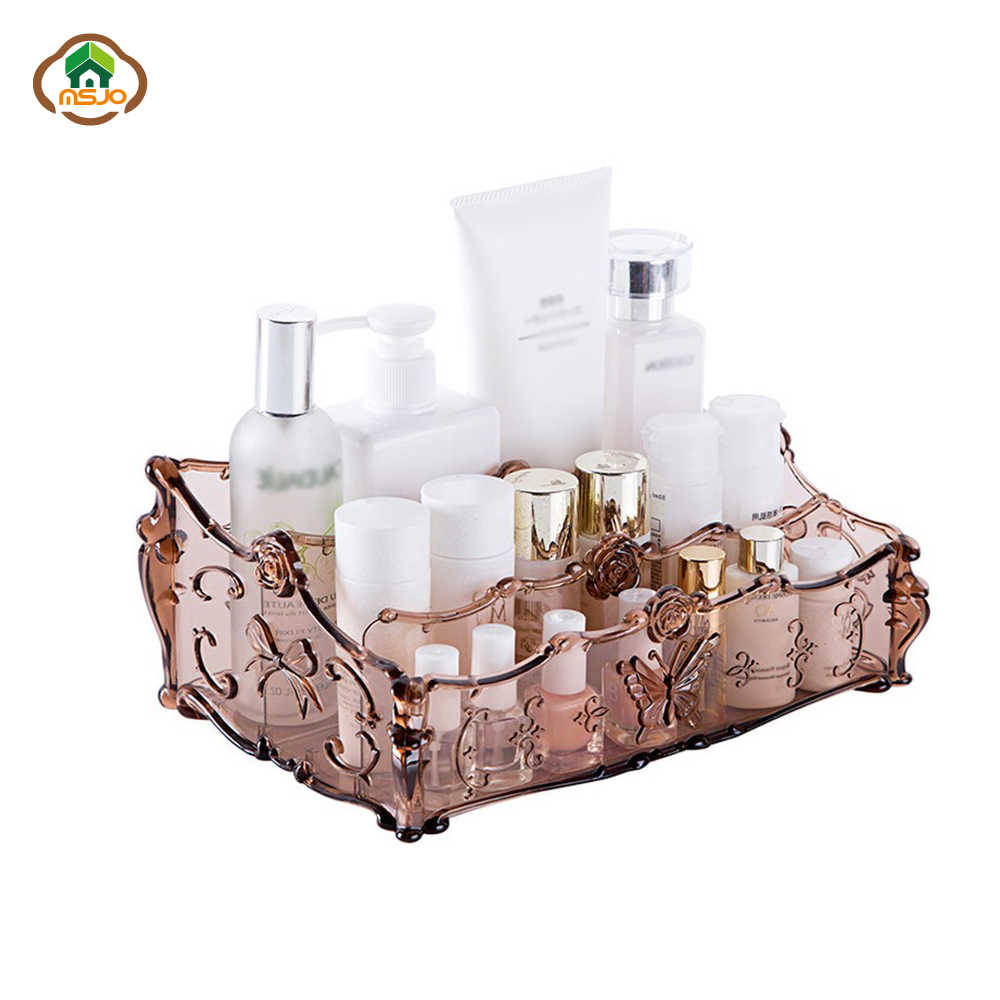 Msjo Makeup Organizer Plastic Cosmetic Storage Box Dressing Table Necklace Nail Polish Earring Plastic Makeup Organizer Box