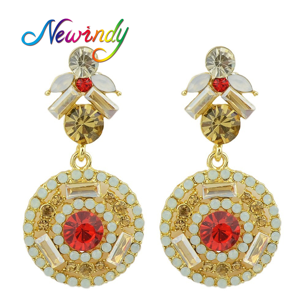 Goldcolor Earrings Red Rhinestone Decoration Boucle D'oreille Imitation  Ouro Brincos For Women