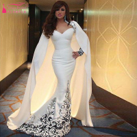 The queen cloak Mermaid Long sleeve Evening dresses White Prom Dress elegant bridal Dresses Foraml Dress vestidos de festa Z224