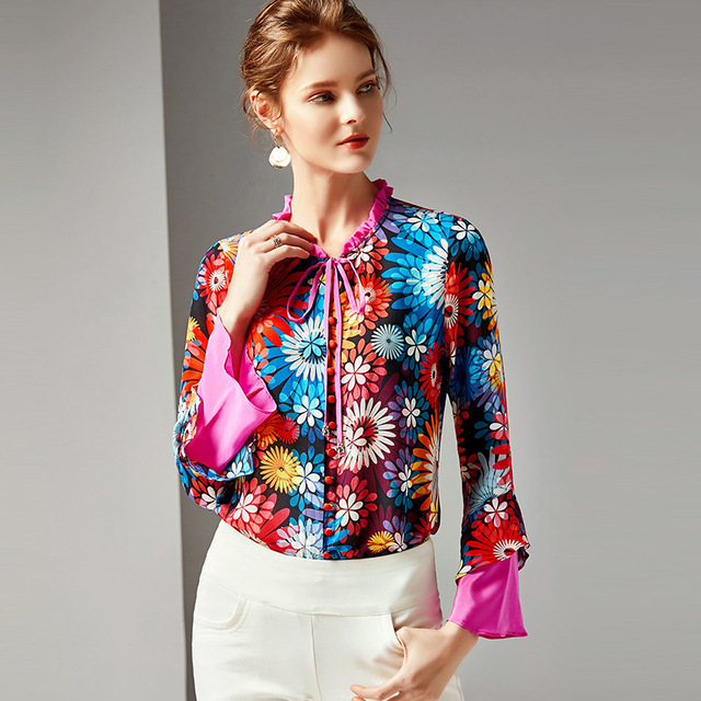 R10431 New Fashion Spring Clothing Female Printed 100% Silk Shirt Flare Sleeve Women Tops and Blouse