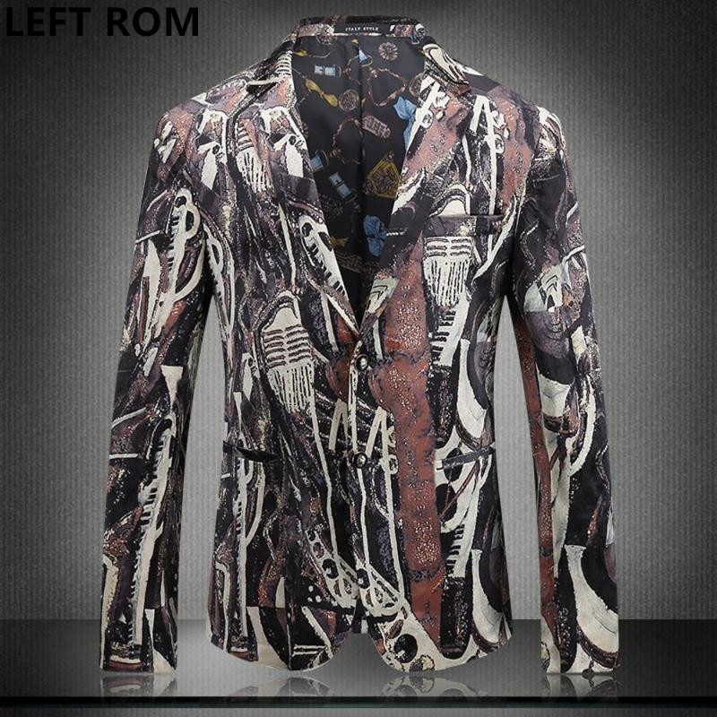 LEFT ROM 2018 Male Long sleeve business leisure Two buttons Suit jacket man Fashion big size self-cultivation print suit coat
