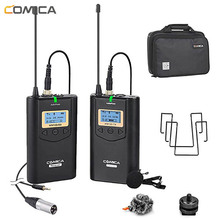 Comica CVM-WM100 UHF 48 Channels Wireless Lavalier Lapel Microphone System Kit for Canon Nikon DSLR Cameras and Smartphones etc.