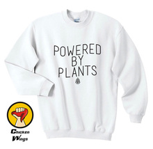 Powered By Plants - Unisex / Womans Plant Eater Vegetarian Vegan Gift Crewneck Sweatshirt More Colors XS-2XL