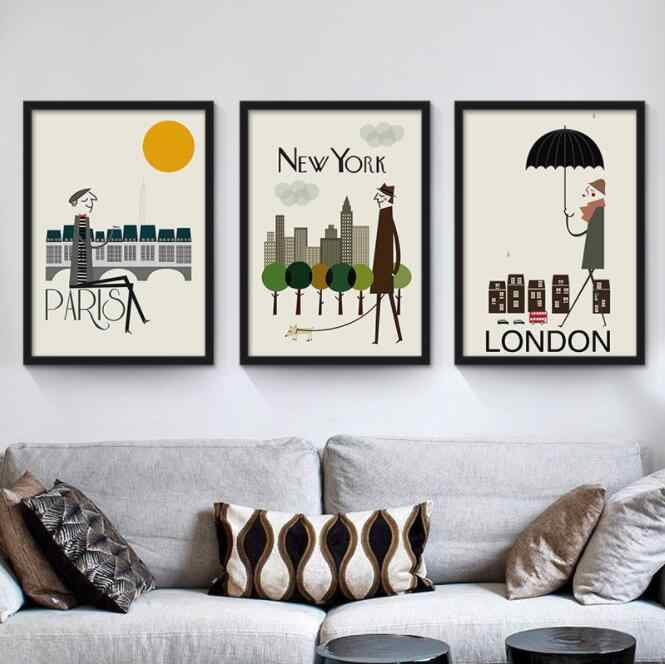 The Morning of City London New York Paris Rome Poster Landscape Art Canvas Painting Wall Picture Print Modern Home Room Decorati