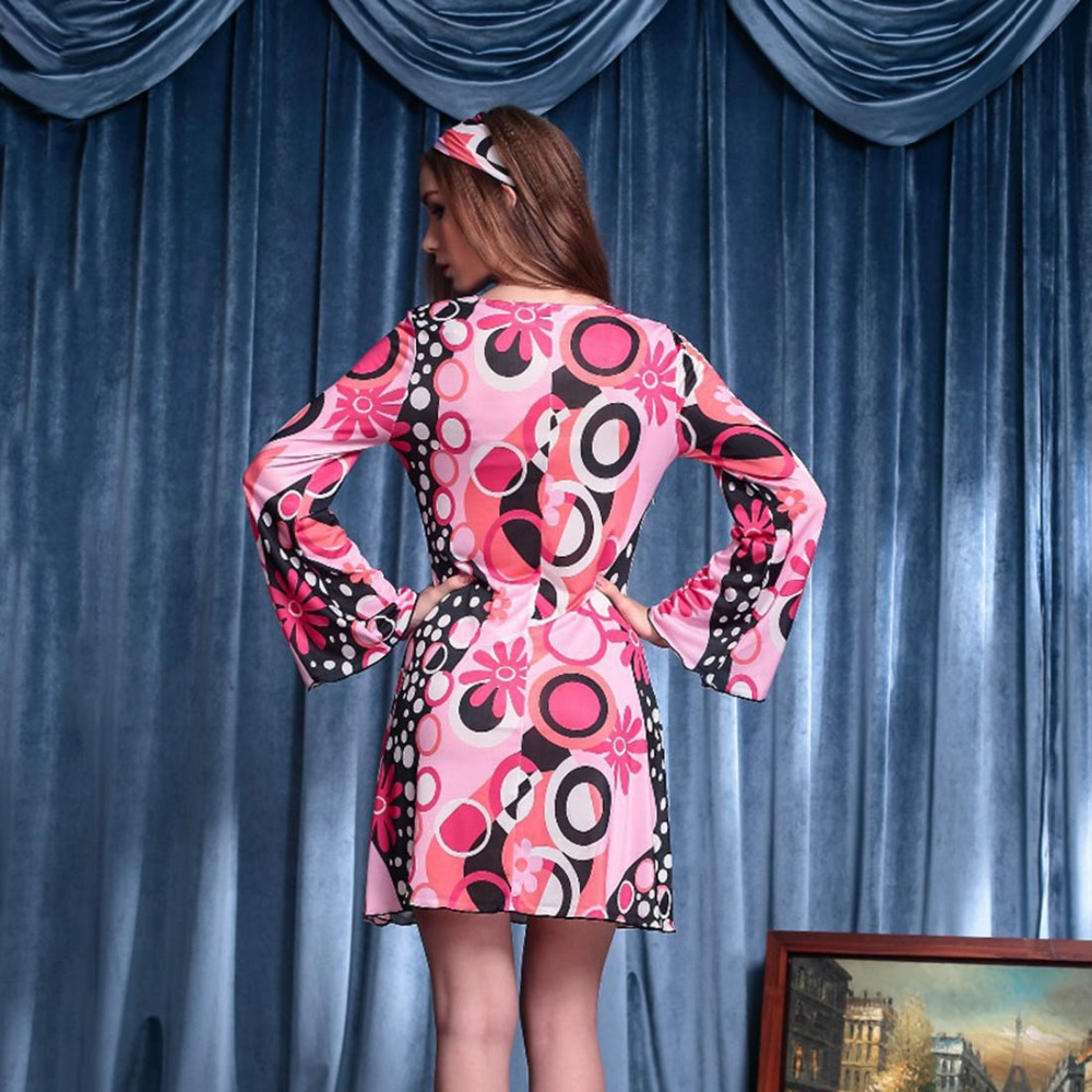 70\'s vintage dress hippie estilo flare manga rosa floral dress retro ...