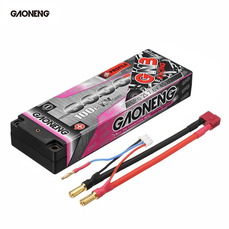 Gaoneng 7.6V 6000mAh 100C 2S HV 4.35V Rechargeable Lipo Battery 5.0mm Banana Plug T Plug for 1:10 RC Car Boat