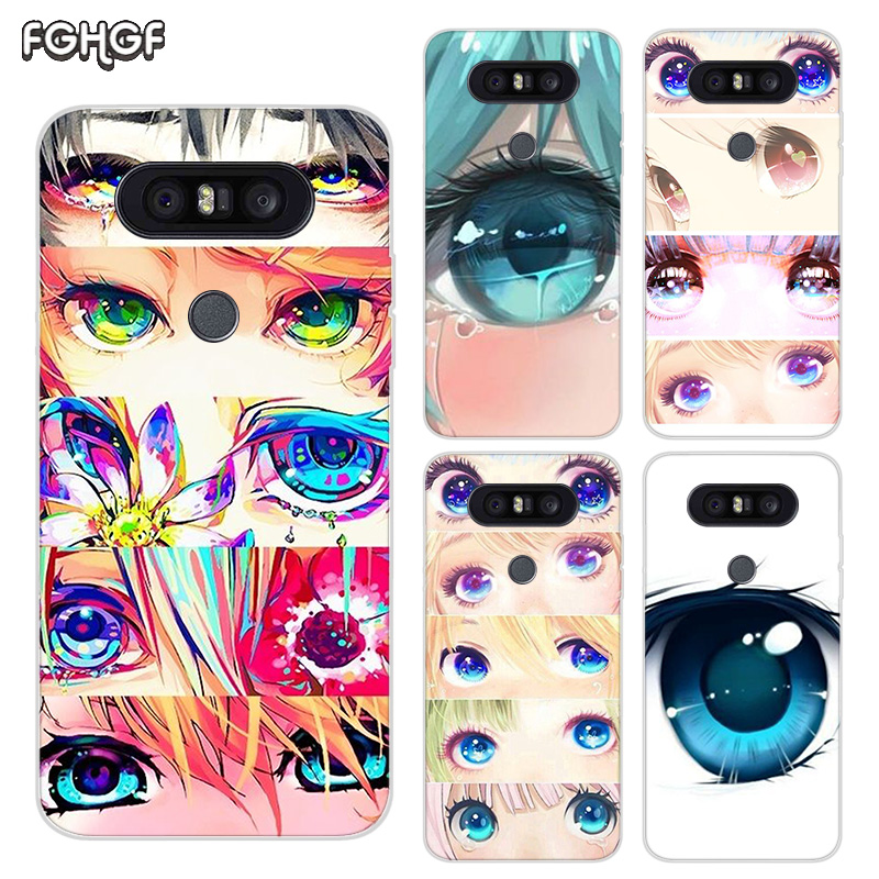 Painted Pattern Soft Rubber TPU Case For LG Q8 Q7 Q6 G6 G7 G5 G4 V40 V30 V20 V10 Transparent Cover Charming Beautiful Eyes