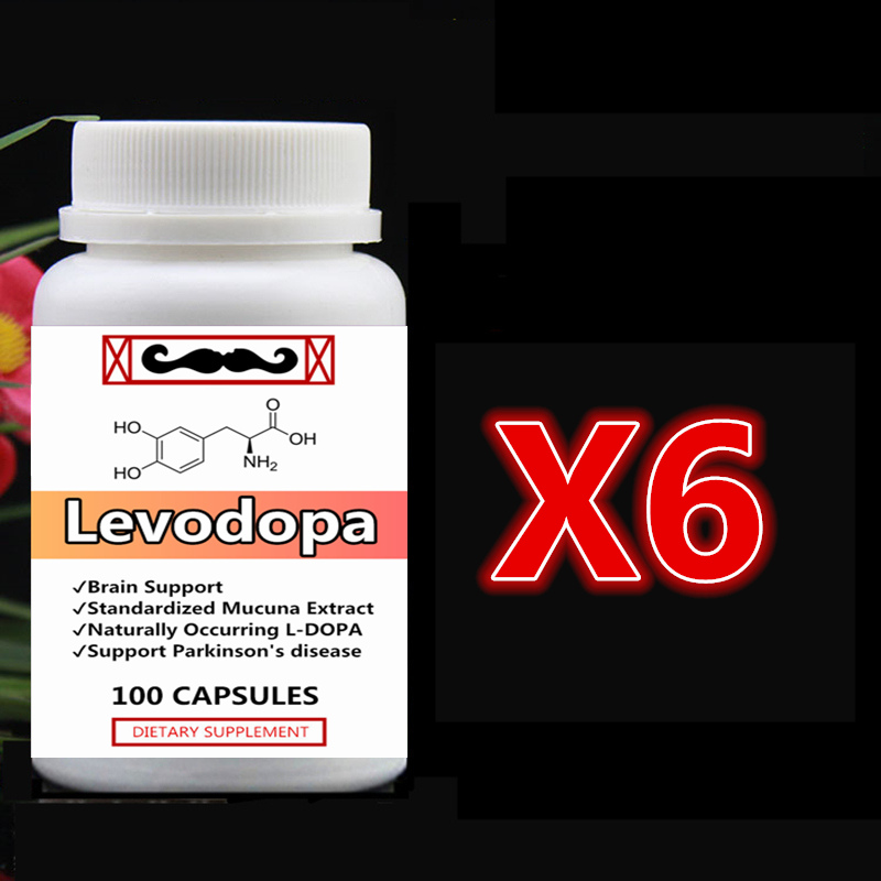 6 bottle 600pcs L-DOPA Levodopa Pure Mucuna Extract with Dopamine Brain Function Support Helps Parkinson's Syndrome LDOPA 6 bottles 600pcs omega 3 capsules healthy for cognition heart brain health optimal wellness immune support supplement free ship