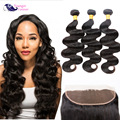 Indian Virgin Hair With Frontal Closure Ear to Ear Lace Frontal Closure With Bundles Raw Virgin Hair With Frontal
