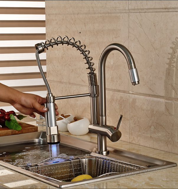 LED Color Changing Nickel Brushed Kitchen Faucet Double Sprayer ...
