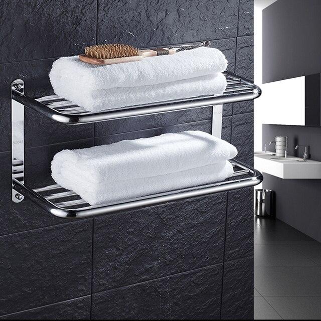 Chrome Finish Bath Accessories Dual Tier Bath Towel Shelf Towel Holder  Double Layer Bathroom Shelf Wall