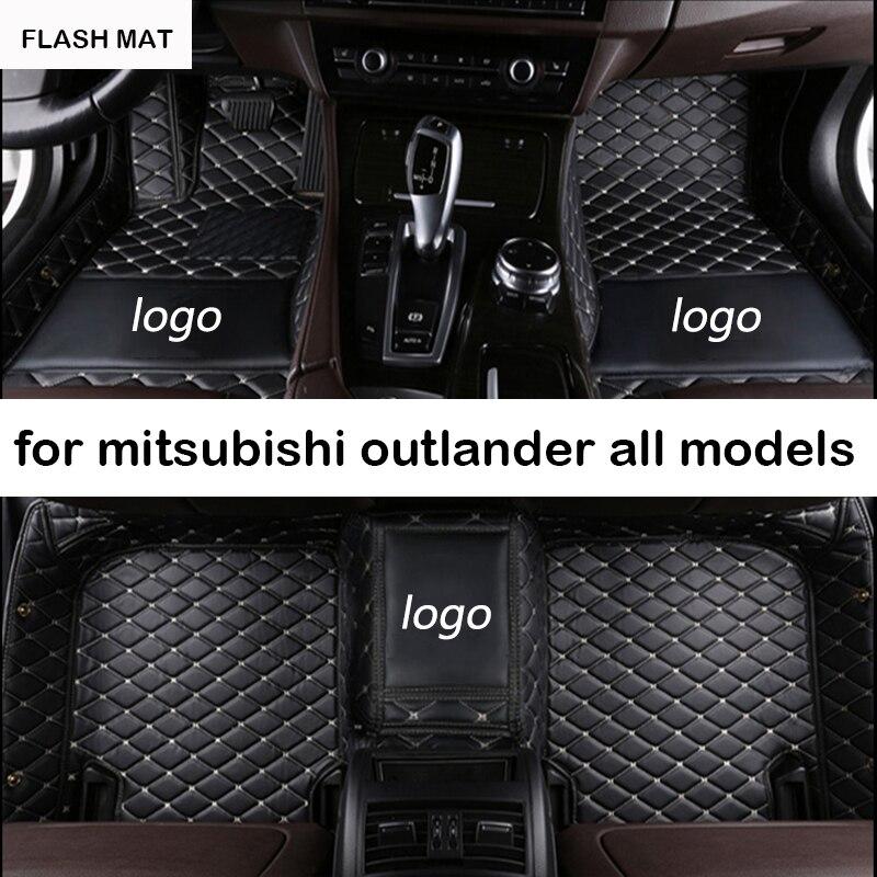 Custom LOGO car floor mats for mitsubishi pajero sport lancer grandis mitsubishi outlander xl 2008 2017