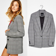 Queechalle 2019 Autumn Suit Office Lady Casual Plaid Blazer Jackets Women's Notched