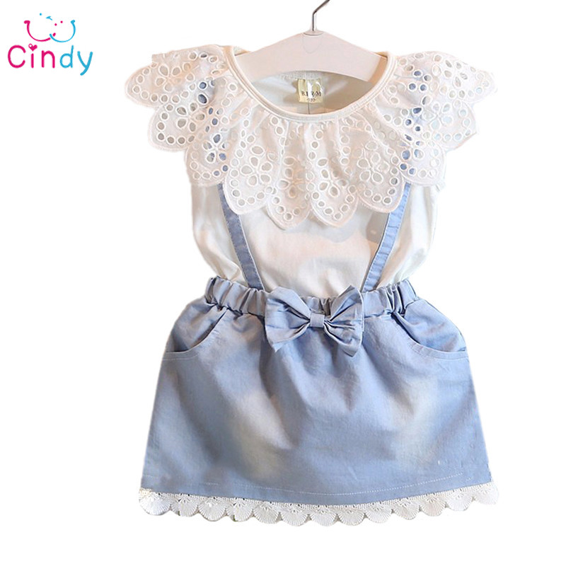 2016 girl fashion summer sets for girls white hollow lace flower top+bow denim clothing set children clothing kids clothes girls