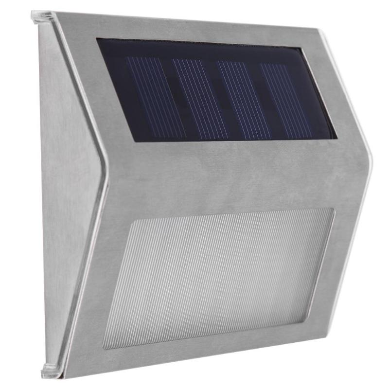 Stainless Steel 3LED Solar Powered LED Wall Lamp Waterproof Outdoor Garden Corridor Stair Lights Emergency lighing waterproof solar powered led disk lights set of 4 outdoor garden stair lights as seen on tv furniture accessories