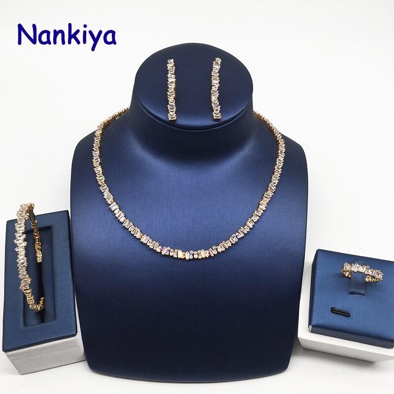 Nankiya étincelant clair blanc cubique Zircon ensemble de bijoux de mariage mignon classique collier 4 pièces ensemble pour les femmes fête Rhodium or NC138