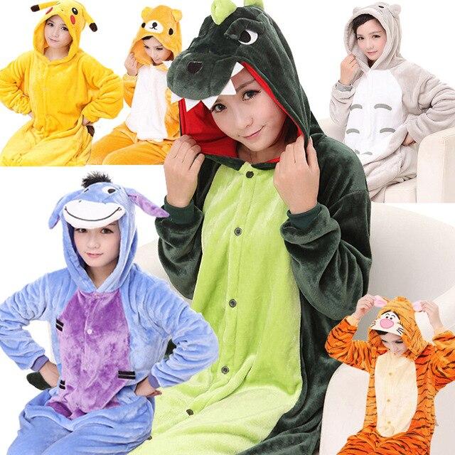 2eabe80fb2 winter Unisex sleepwear fleece adult cartoon animal pajamas suit for women  men girl hoody Flannel Cosplay Warm Onesies homewear