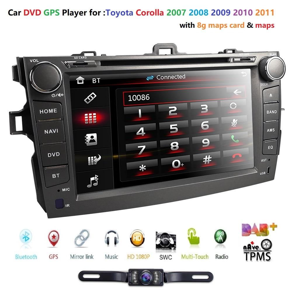 Car DVD Multimedia-Player CAMERA Radio Navigation Bluetooth Toyota Corolla 2-Din Stereo Gps