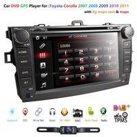 FREE map 8 2 din Car DVD Automotive Multimedia Player For Toyota Corolla 2007 2011 Bluetooth Radio Stereo GPS Navigation CAMERA